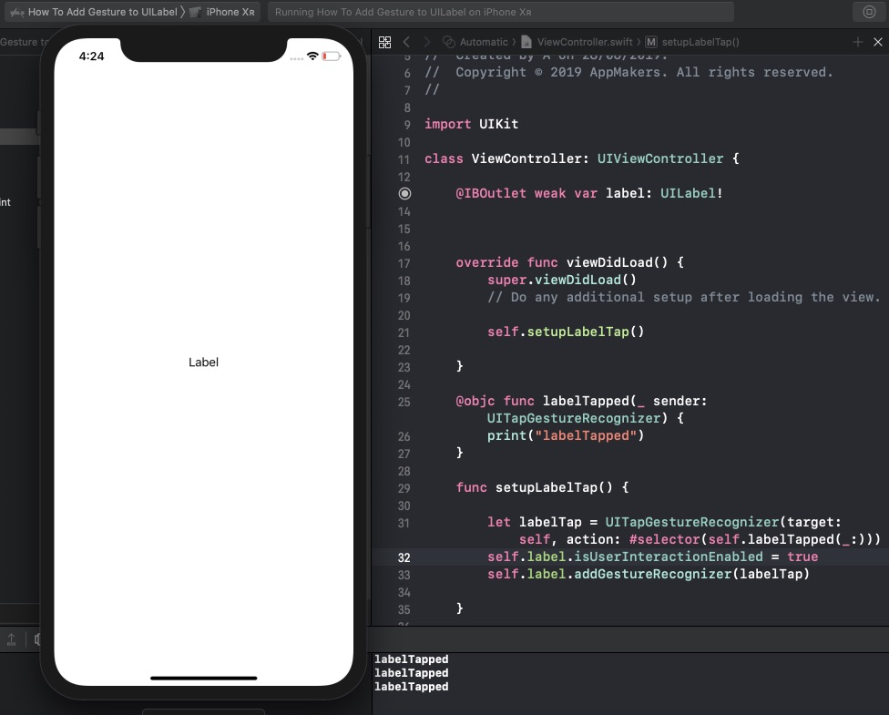 How To Add a Tap Gesture to UILabel in Xcode using Swift - App